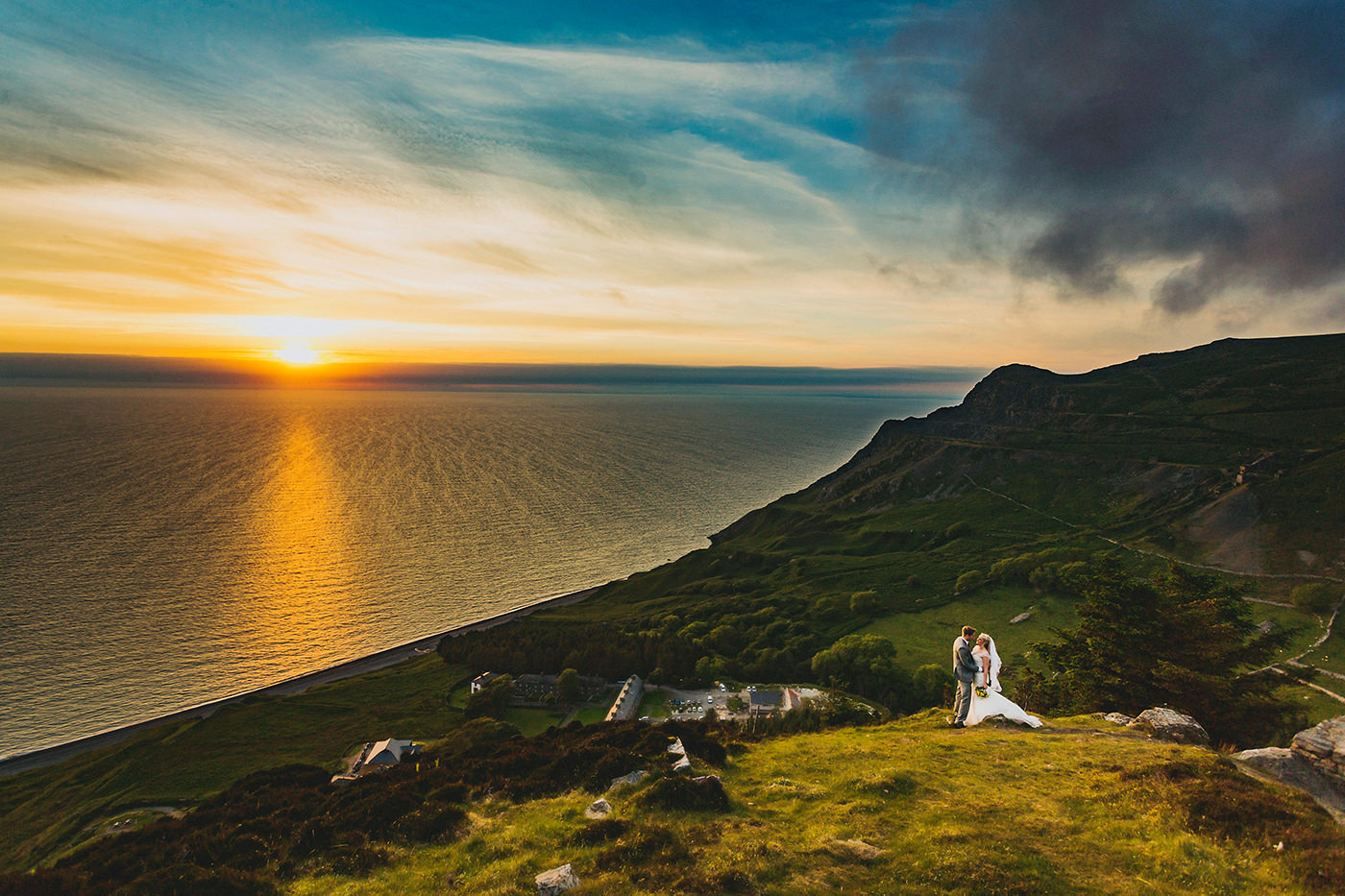 Beautiful bride and grrom sunset portrait taken in North Wales