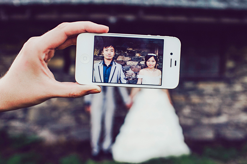 iphone bride and groom portrait