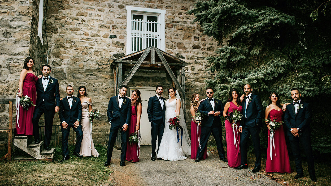 Bridal party portrait from a wedding in Montreal, Quebec