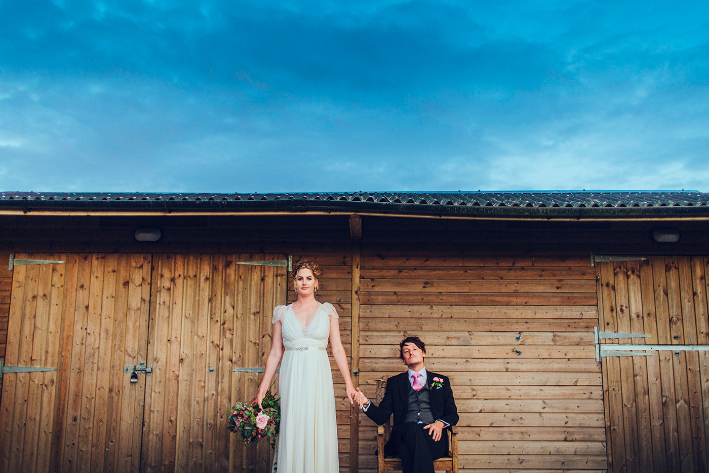 Alternative bride and groom portrait by Steve Gerrard Photography