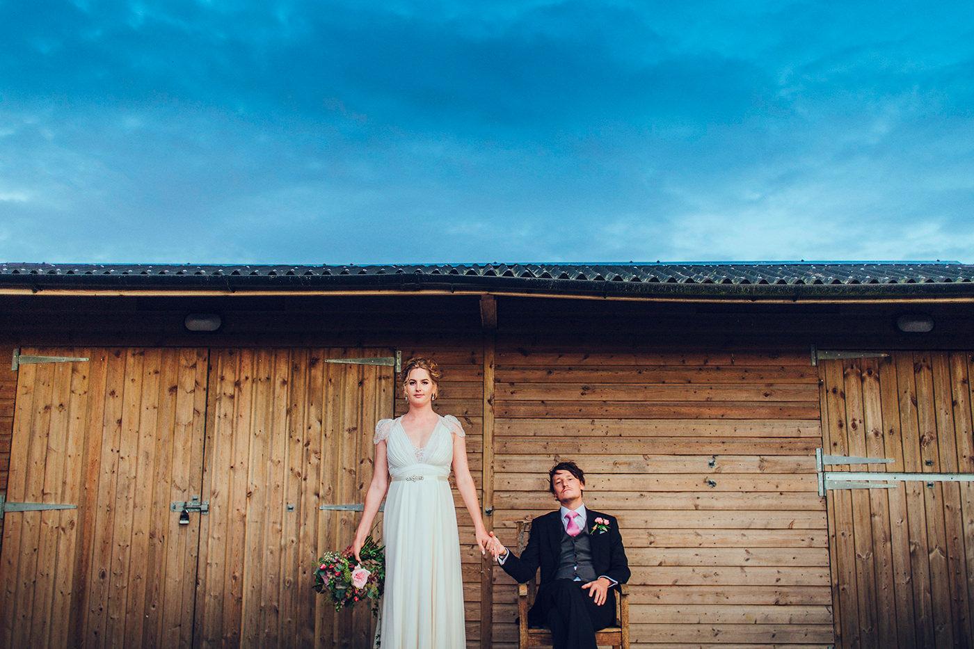 Alternative bride and groom portrait by Steve Gerrard Photography