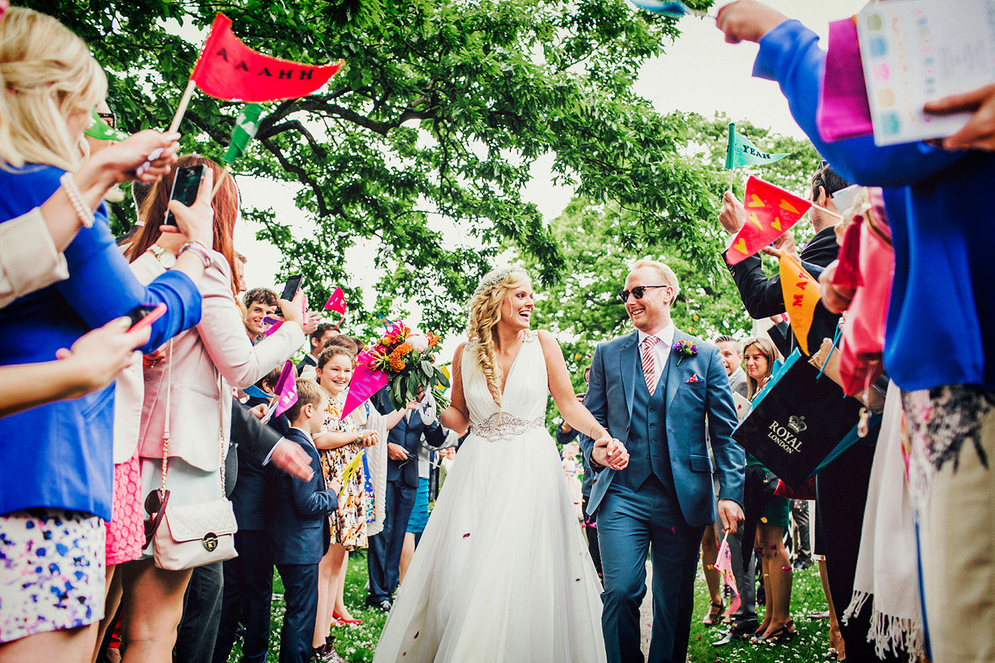 colourful wedding photo from Cornwall in England
