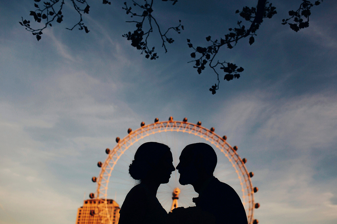 Silhouette wedding photo with ferris wheel