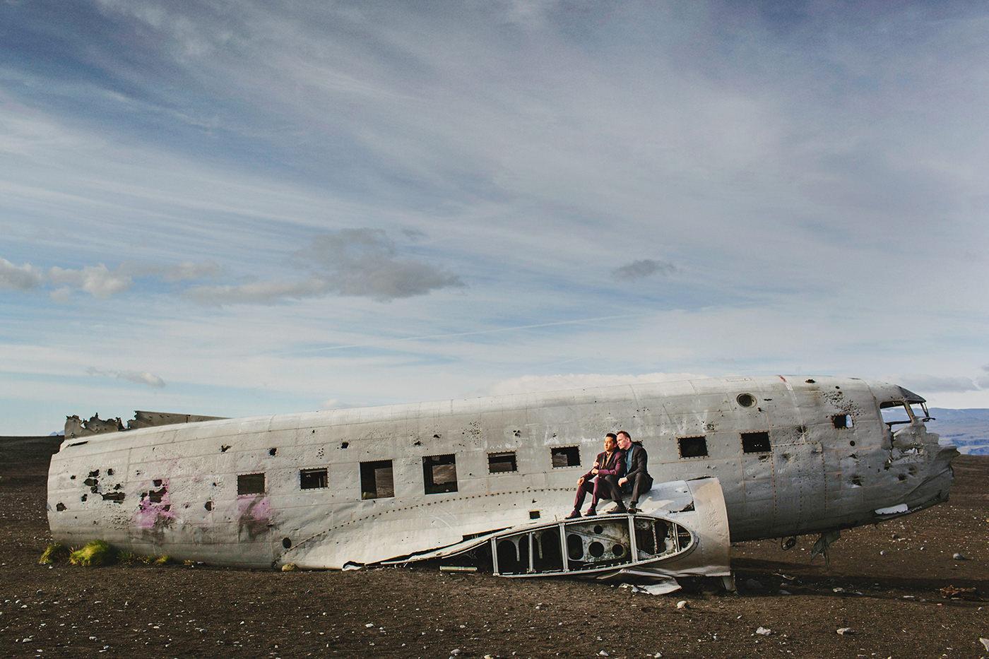 Same sex wedding portrait from abandoned plane crash site in Iceland