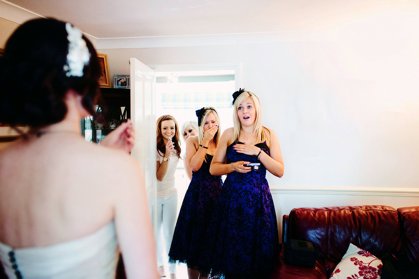 Beautiful moment with bride and bridesmaids