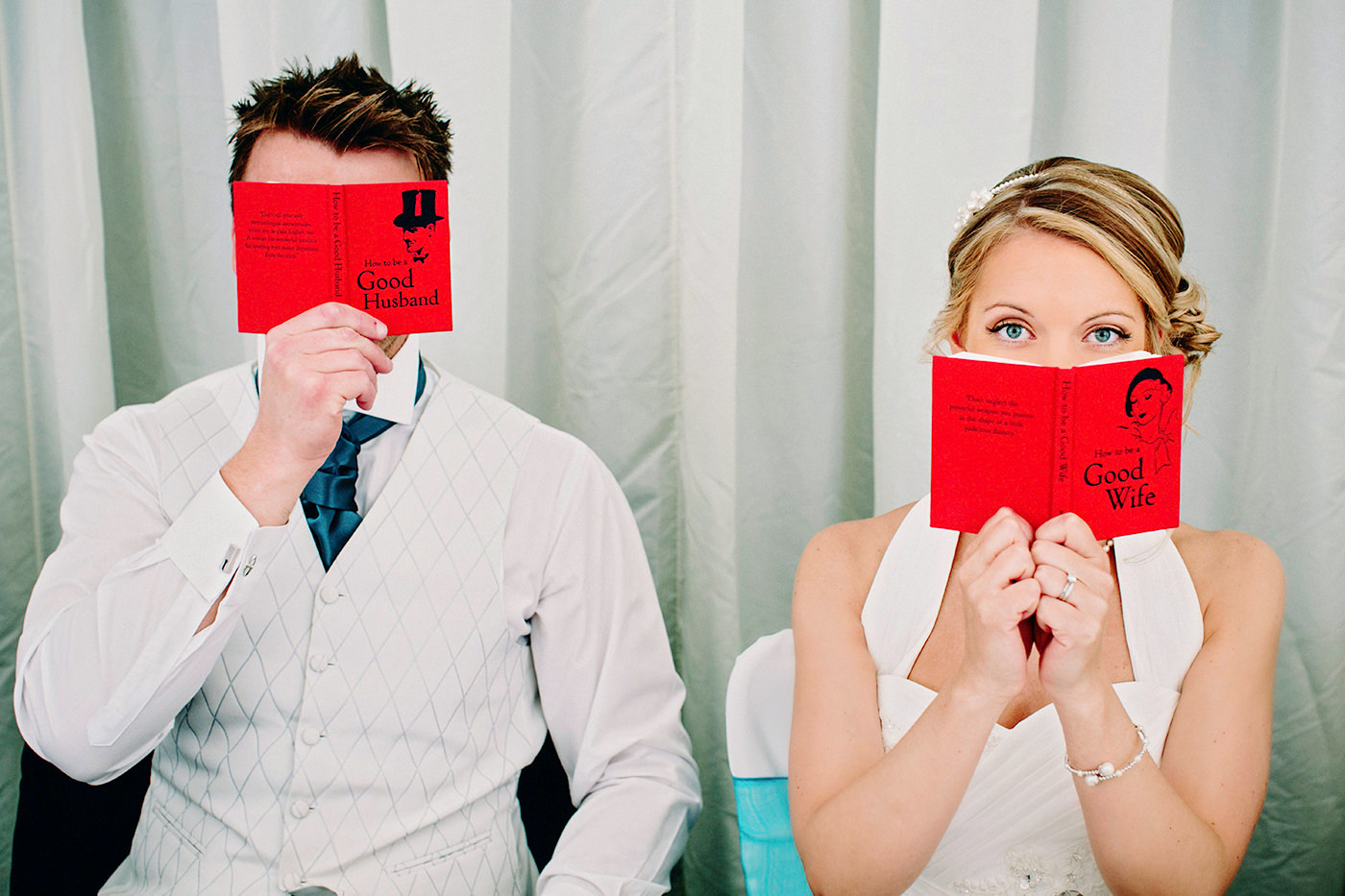Fun wedding portrait of bride and groom