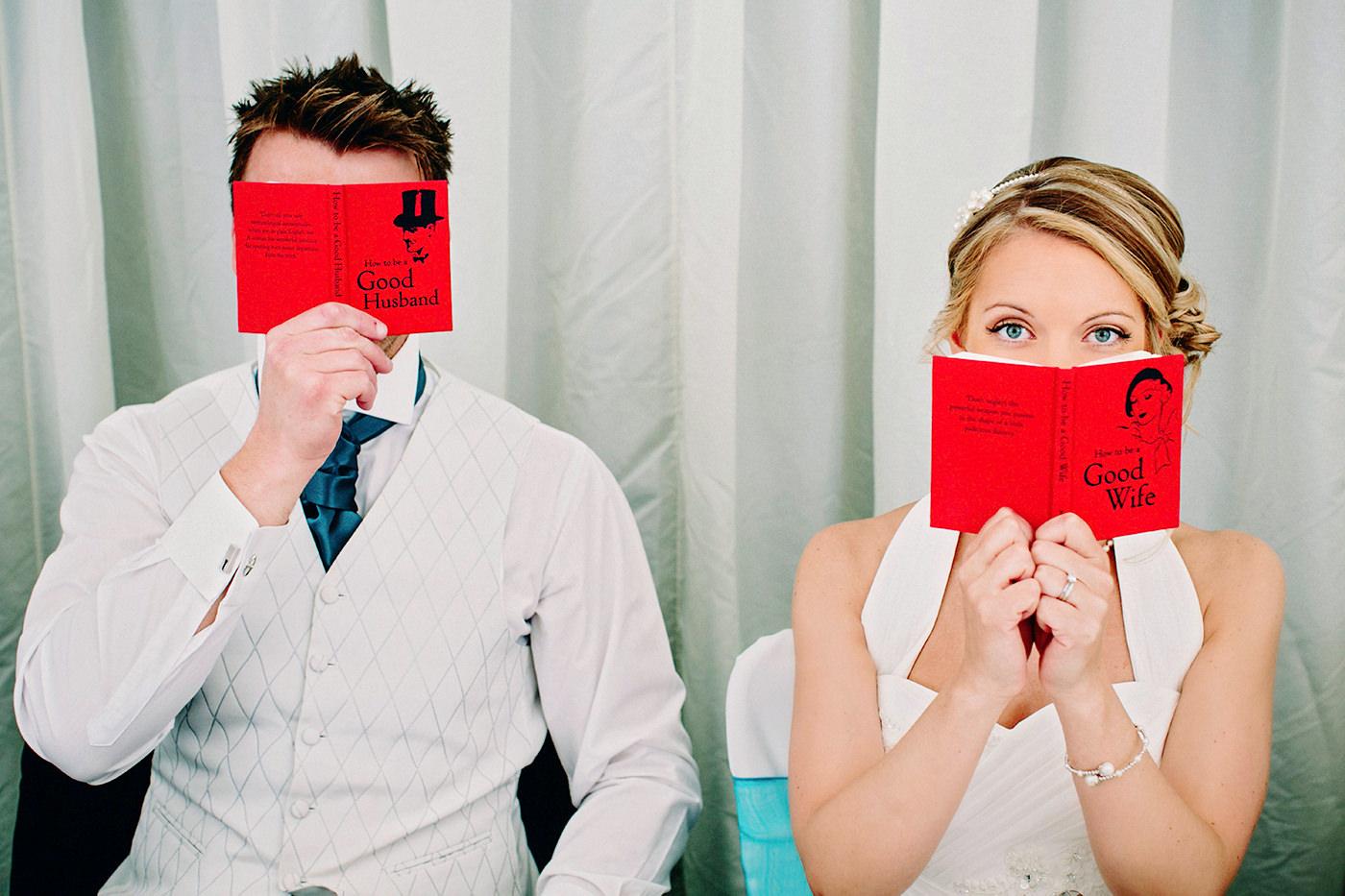 Fun wedding portrait of bride and groom