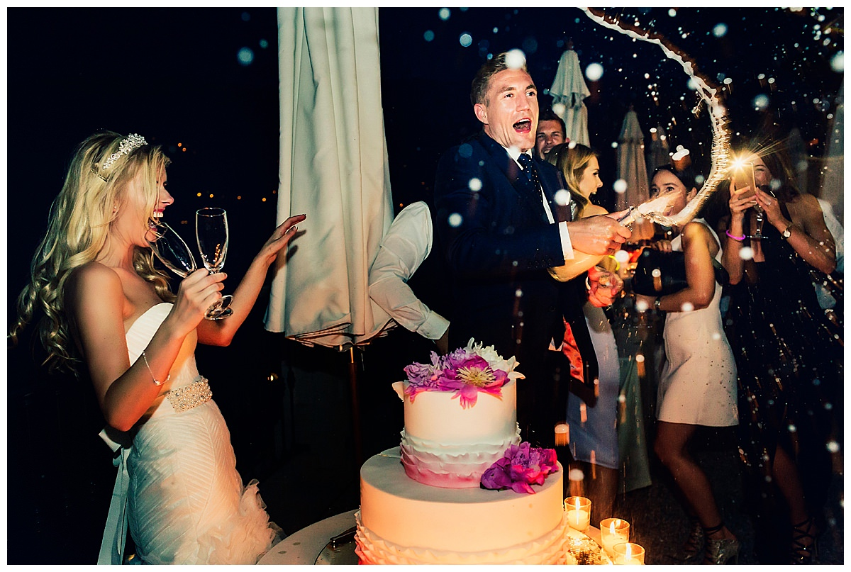 wedding reception with cake and champagne