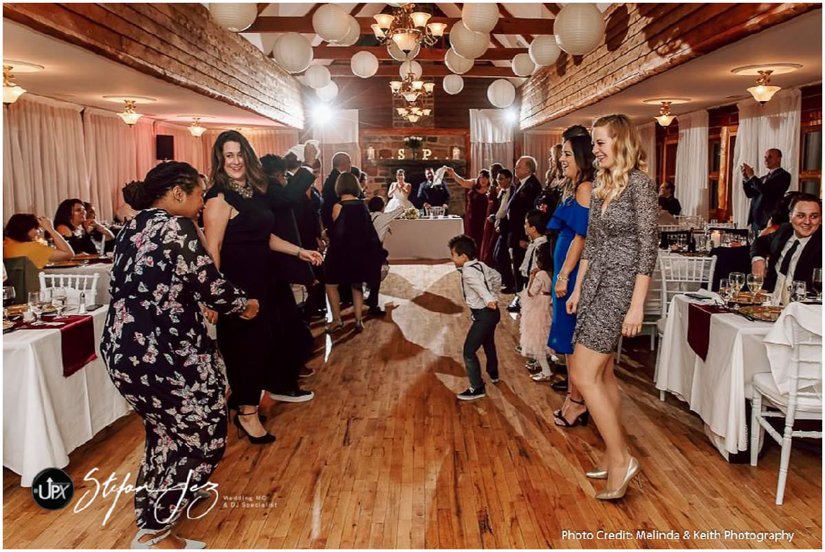 A fun dancefloor at a wedding in Montreal, Quebec
